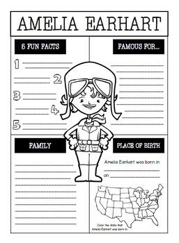 Amelia Earhart Interactive Notebook Activities