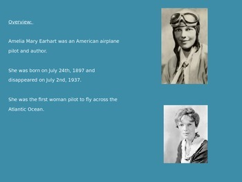 Amelia Earhart - Power Point - Life Story