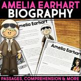 Amelia Earhart Reading Passage, Biography Report & Comprehension Activities