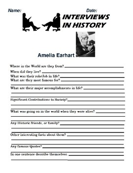 Amelia Earhart Research and interview Assignment