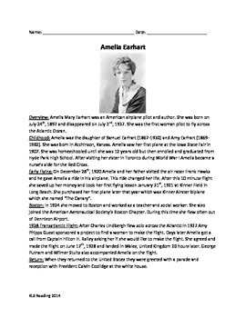 Amelia Earhart -  Review Information - questions - supplemental worksheets