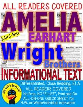 The Wright Brothers & Amelia Earhart & Kitty Hawk Close Read 5 levels PRINT-N-GO