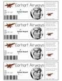Amelia Earhart Printable Tickets
