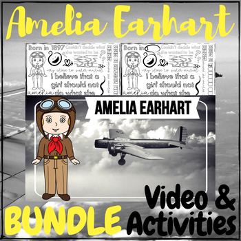Amelia Earhart Video & Activities + Doodle Notes BUNDLE!