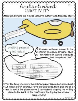 Amelia Earhart Writing Craftivity