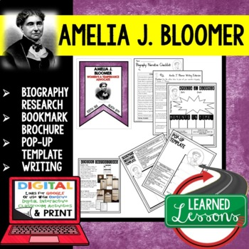 Amelia J. Bloomer Biography Research, Bookmark Brochure, Pop-Up, Writing