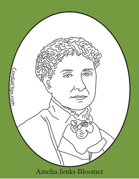 Amelia Jenks Bloomer Clip Art, Coloring Page or Mini Poster