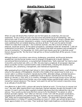 Amelia Mary Earhart Article and Comprehension Assignment