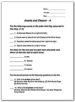 Amelia and Eleanor Go For a Ride  Review Worksheets TPT