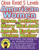 Susan B Anthony Amelia Earhart Helen Keller & More CLOSE READ 5 LEVEL PASSAGES!
