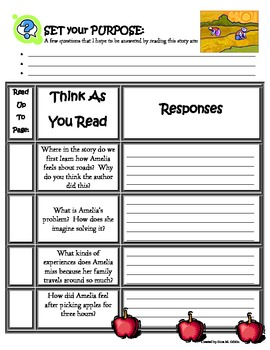 Amelia's Road Reading Guide Response Packet - Without Page Numbers