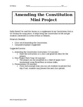 Amendments to the Constitution Mini Project