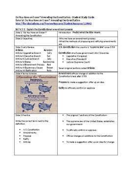 Tutorial - Do You Have an Eraser - Study Guide & Answer Key