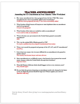 Amending the US Constitution in Four Minutes Video Worksheet