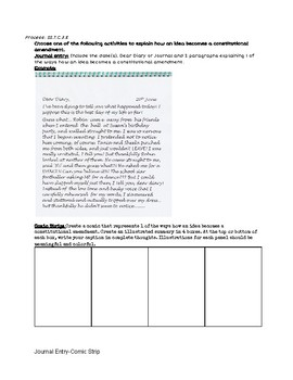 Amending the United States Constitution: Journal Entry & Comic Strip