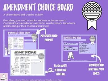 Amendment Choice Board - Constitution, Civics, or Government Unit Project