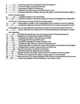 27 Amendments Handout and Quiz