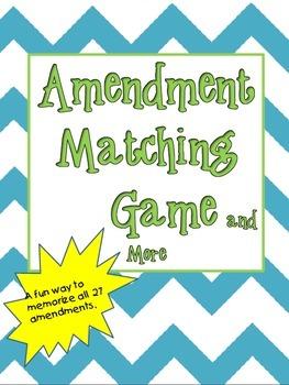 Amendment Memory Game and More