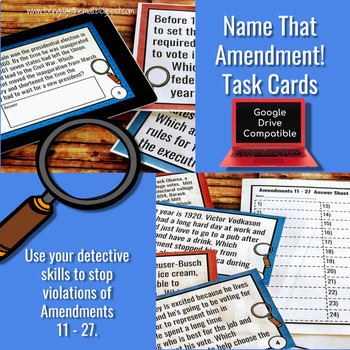 Amendments 11 - 27 Task Cards and Walk the Room