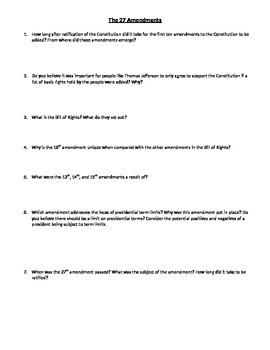 Amendments Critical Thinking Questions/Create an Amendment Activity