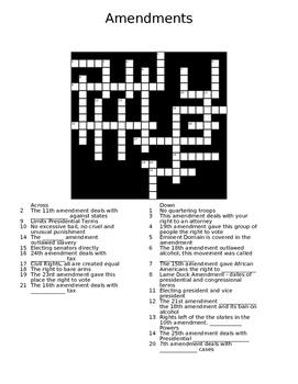Amendments Crossword