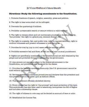 Amendments Quiz and Study Sheet