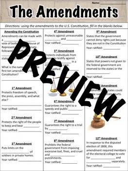 Amendments Worksheet