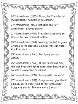 Amendments to the U.S. Constitution Student Note Sheet