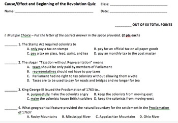 American Revolution Cause and Effect Assessment