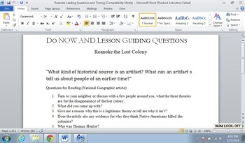 Amerian Colonies: Roanoke: The Lost Colony: A persuasive writing exercise.