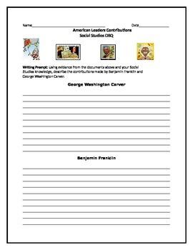American Leaders Writing Activity-George Washington Carver & Benjamin Franklin