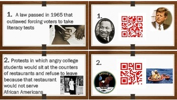 America 1950-1975: Civil Rights, Assassinations, & New Tech. Scoot with QR Codes