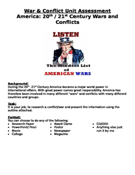 America: 20th/21st Century Wars & Conflicts Assessment- research w/ rubric