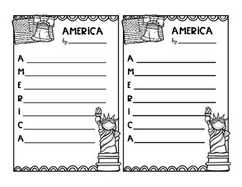 America Acrostic Poem (FREEBIE!)