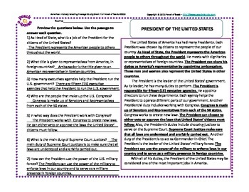 America At Work: President of the United States (Assessment Sheet)