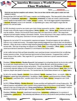 America Becomes a World Power Cloze Worksheet