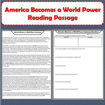 America Becomes a World Power Reading Passage with Response Questions