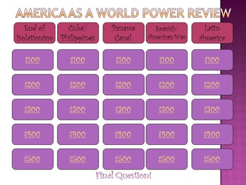 America Becomes a World Power Review Game