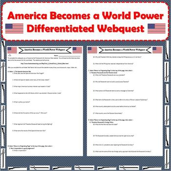 America Becomes A World Power Span Am War Imperialism DIFFERENTIATED Webquest
