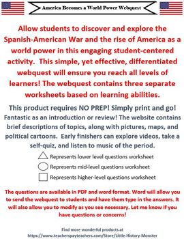 America Becomes a World Power - Span-Am War/Imperialism DIFFERENTIATED Webquest