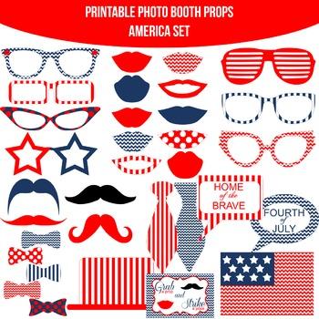 America Chevron Printable Photo Booth Prop Set