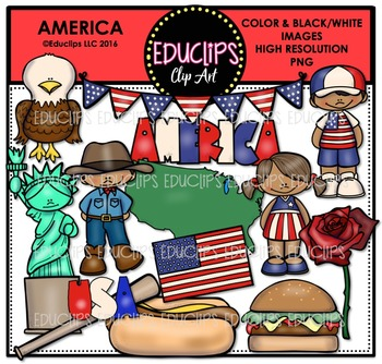 America Clip Art Bundle {Educlips Clipart}