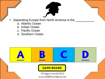 America Colony / Colonist Interactive PowerPoint Game 53 Questions
