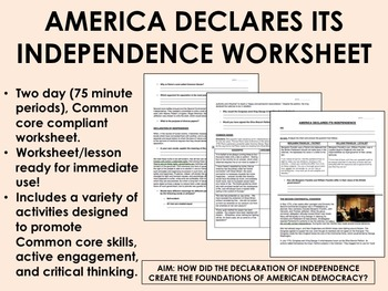America Declares its Independence worksheet - US History Common Core