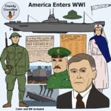 America Enters WWl Clip Art by Dandy Doodles