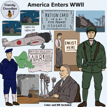 America Enters WWll Clip Art by Dandy Doodles