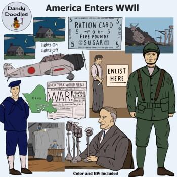 America Enters WWll Clip Art by Dandy Doodles