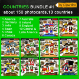 America, Europe, Asia, Australia Clipart-countries photocards
