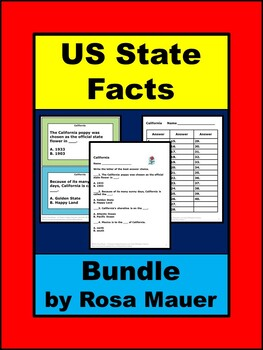 America Facts About the United States Task Card and Worksheet Set