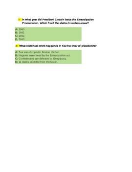 America History Abraham Lincoln Quiz for 4th Grade